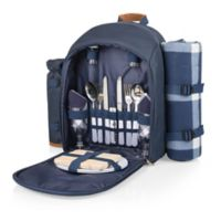 Picnic Time® 16-Piece Insulated Picnic Backpack for 2 in Navy/Brown