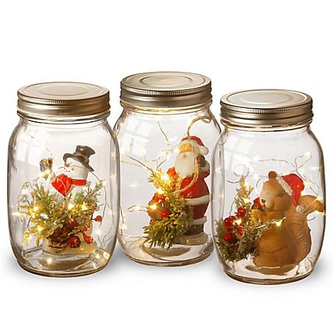 National tree company holiday accent glass mason jars set for Christmas glass jars