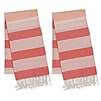 Design Imports Fouta Towels in Coral (Set of 2)