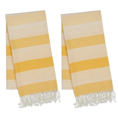 Ordinaire Design Imports Fouta Towels In Yellow (Set Of 2)