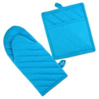 Design Imports Chino Chef 2-Piece Oven Mitt and Pot Holder Set in Neon Blue