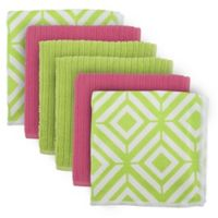 Design Imports 6-Pack Diamond Microfiber Dishcloths in Green