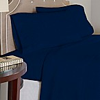 Pointehaven 175 GSM Solid Flannel Twin XL Sheet Set in Navy