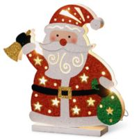 National Tree Company 12-Inch Pre-Lit Wooden Santa Christmas Decoration