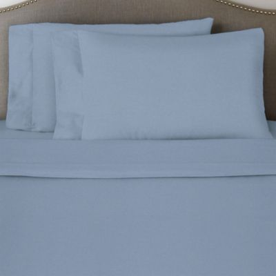 pointehaven solid flannel queen sheet set in blue