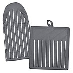 Design Imports Striped Pot Holder and Oven Mitt Set in Grey