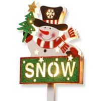"National Tree Company 35-Inch Pre-Lit Snowman with ""Snow"" Sign Holiday Decoration"