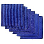 Design Imports 6-Pack Scrub Scour Polish Microfiber Dish Cloths in Nautical Blue