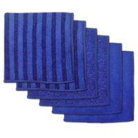 Design Imports 6-Pack Scrub Scour Polish Microfiber Dish Cloths in Nautical Blue