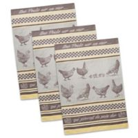 Design Imports Une Poule French Jacquard Dish Towels in Red/White (Set of 3)