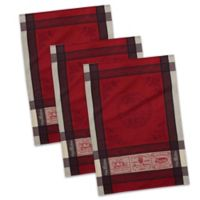 Design Imports Vins de France Jacquard Dish Towels in Red/White (Set of 3)