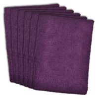 Design Imports 6-Pack Microfiber Kitchen Towels in Eggplant