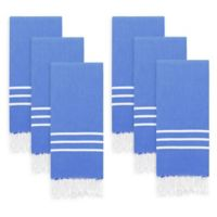 Linum Home Textiles Alara Kitchen Towels in Blue/White (Set of 6)