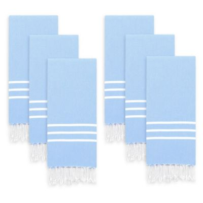 Linum Home Textiles Alara Kitchen Towels In Light Blue/White (Set Of 6)