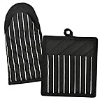 Design Imports Striped Pot Holder and Oven Mitt Set in Black