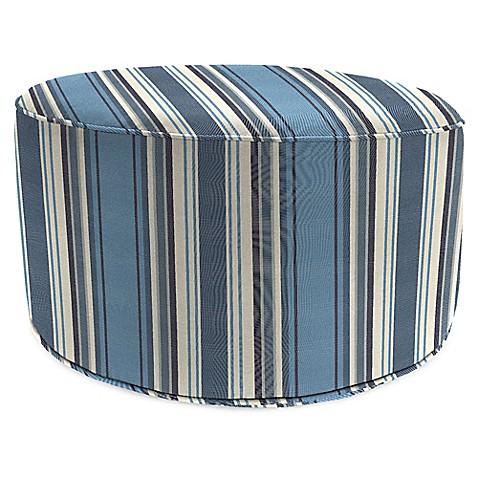 Outdoor round pouf ottoman in sunbrella aynovack nautical for Ulani outdoor round pouf ottoman