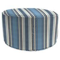 Stripe Outdoor 24-Inch Round Pouf Ottoman in Sunbrella® Aynovack Nautical