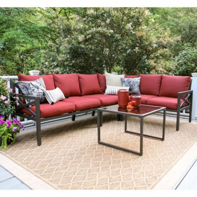 Leisure Made Blakely 5 Piece Sectional Patio Furniture Set In Red