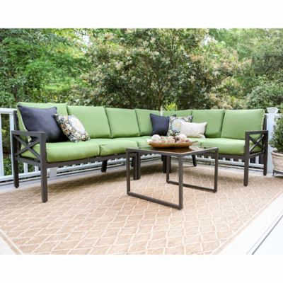 Leisure Made Blakely 5 Piece Sectional Patio Furniture Set In Green