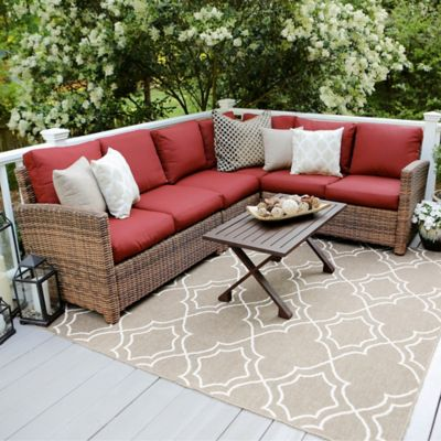 Leisure Made Dalton 5 Piece Sectional Patio Furniture Set In Red