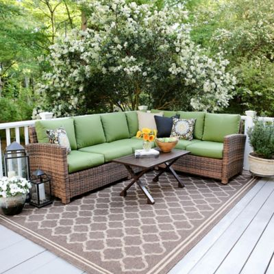 Leisure Made Dalton 5 Piece Sectional Patio Furniture Set In Green