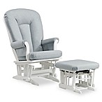 Dutailier® Sleigh Glider and Nursing Ottoman in White/Light Blue