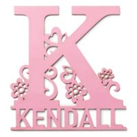 Initial and Flowers Wood Wall Plaque in Pink