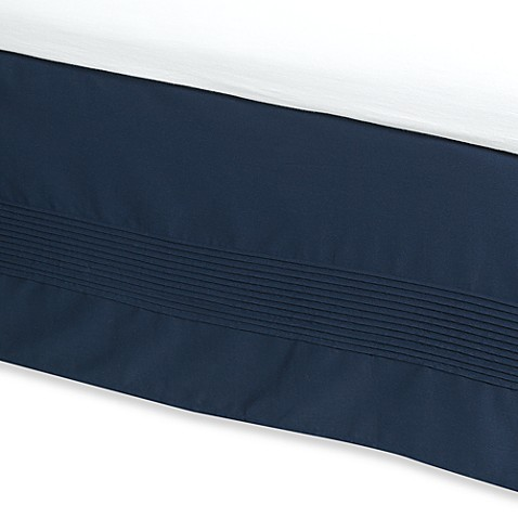 Ampersand® Pintuck Twin Bed Skirt in Navy