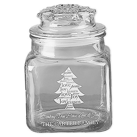 Christmas Tree Engraved Glass Candy Jar - Bed Bath & Beyond