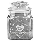 """Together We Make a Family"" Engraved Glass Treat Jar"