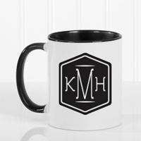 Classic Monogram 11 oz. Coffee Mug in Black/White
