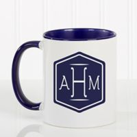 Classic Monogram 11 oz. Coffee Mug in Blue/White