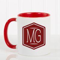 Classic Monogram 11 oz. Coffee Mug in Red/White