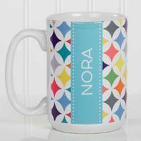 Geometric 15 oz. Coffee Mug in White