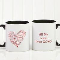 Heart of Love 11 oz. Coffee Mug in White/Black