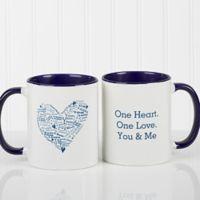 Heart of Love 11 oz. Coffee Mug in White/Blue