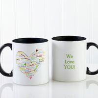 Her Heart of Love 11 oz. Coffee Mug in White/Black