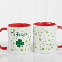 Irish Clover 11 oz. Coffee Mug in White/Red