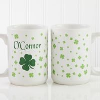 Irish Clover 15 oz. Coffee Mug in White