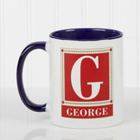 Letter Perfect 11 oz. Coffee Mug in White/Blue