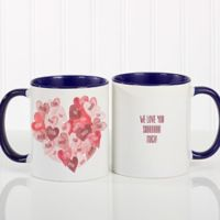 Our Hearts Combined 11 oz. Coffee Mug in Blue/White