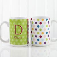 Polka Dot 15 oz. Coffee Mug in White