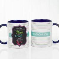 Teacher Quotes 11 oz. Coffee Mug in Blue/White