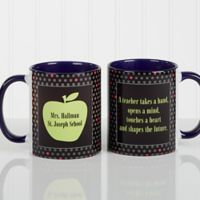 Teacher's Green Apple 11 oz. Coffee Mug in Blue