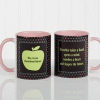 Teacher's Green Apple 11 oz. Coffee Mug in Pink