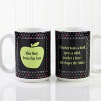 Teacher's Green Apple 15 oz. Coffee Mug in White