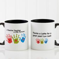 Touches A Life 11 oz. Teacher Coffee Mug in Black/White