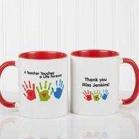 Touches A Life 11 oz. Teacher Coffee Mug in Red/White
