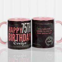 Vintage Birthday 11 oz. Coffee Mug in Pink/Black