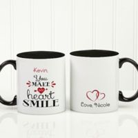 You Make My Heart Smile 11 oz. Coffee Mug in Black/White